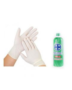 Guantes de Latex + 1 LT alcohol antiséptico