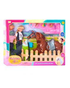 Muñeca Stockrider Girl con caballo y accesorios